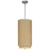 Elements 1 Light 10 inch Satin Nickel Mini Pendant Ceiling Light in Grass Cloth