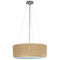 Elements 4 Light 23 inch Satin Nickel Pendant Ceiling Light in Grass Cloth