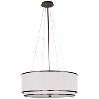 Elements 4 Light 23 inch Oil Rubbed Bronze Pendant Ceiling Light in Amber Lava, White Pleat