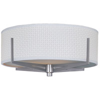 Elements 2 Light 16 inch Satin Nickel Flush Mount Ceiling Light in White Weave