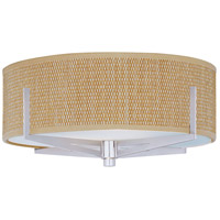 Elements 2 Light 16 inch Satin Nickel Flush Mount Ceiling Light in Grass Cloth