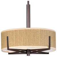 Elements 3 Light 16 inch Oil Rubbed Bronze Pendant Ceiling Light in Grass Cloth