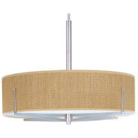 Elements 3 Light 26 inch Satin Nickel Pendant Ceiling Light in Grass Cloth