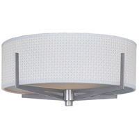 Elements 3 Light 16 inch Satin Nickel Flush Mount Ceiling Light in White Weave