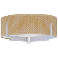 Elements 3 Light 16 inch Satin Nickel Flush Mount Ceiling Light in Grass Cloth