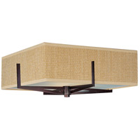 Elements 3 Light 16 inch Oil Rubbed Bronze Flush Mount Ceiling Light in Grass Cloth