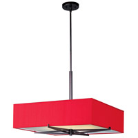 Elements 4 Light 26 inch Oil Rubbed Bronze Pendant Ceiling Light in White Leopard, Crimson Silk