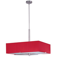 Elements 4 Light 26 inch Satin Nickel Pendant Ceiling Light in White Leopard, Crimson Silk