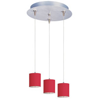 Elements 3 Light 14 inch Satin Nickel Pendant Ceiling Light in White Leopard, Crimson Silk