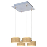 Elements 4 Light 14 inch Satin Nickel Pendant Ceiling Light in White Lava, Grass Cloth