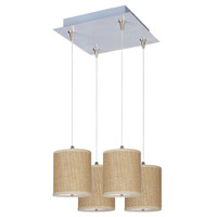 ET2 E95495-101SN Elements 4 Light 14 inch Satin Nickel Pendant Ceiling Light in White Lava, Grass Cloth photo thumbnail