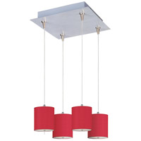 Elements 4 Light 14 inch Satin Nickel Pendant Ceiling Light in White Leopard, Crimson Silk