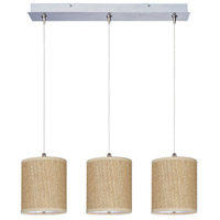 Elements 3 Light 25 inch Satin Nickel Linear Pendant Ceiling Light in White Lava, Grass Cloth