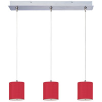 Elements 3 Light 25 inch Satin Nickel Linear Pendant Ceiling Light in White Leopard, Crimson Silk