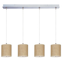 Elements 4 Light 35 inch Satin Nickel Linear Pendant Ceiling Light in White Lava, Grass Cloth