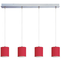 Elements 4 Light 35 inch Satin Nickel Linear Pendant Ceiling Light in White Leopard, Crimson Silk