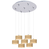 Elements 7 Light 17 inch Satin Nickel Multi-Light Pendant Ceiling Light in White Lava, Grass Cloth