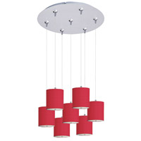 Elements 7 Light 17 inch Satin Nickel Multi-Light Pendant Ceiling Light in White Leopard, Crimson