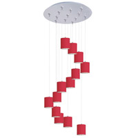 Elements 13 Light 21 inch Satin Nickel Multi-Light Pendant Ceiling Light in White Leopard, Crimson