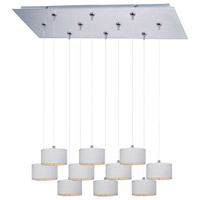 Elements 10 Light 32 inch Satin Nickel Linear Pendant Ceiling Light in White Weave