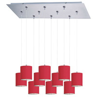 Elements 10 Light 32 inch Satin Nickel Linear Pendant Ceiling Light in White Leopard, Crimson