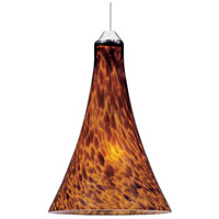 Minx 1 Light 5 inch Satin Nickel RapidJack Pendant Ceiling Light in Amber Leopard