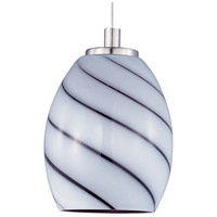 ET2 EP96026-108SN Minx 1 Light 5 inch Satin Nickel RapidJack Pendant Ceiling Light in Grape Swirl