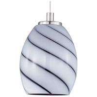 ET2 EP96026-108SN Minx 1 Light 5 inch Satin Nickel RapidJack Pendant Ceiling Light in Grape Swirl