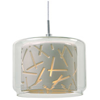 ET2 EP96087-10PC Confetti 1 Light 6 inch Satin Nickel RapidJack Pendant Ceiling Light in Clear/White