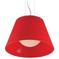 EuroFase 23067-028 Ribo 1 Light 13 inch Chrome Pendant Ceiling Light in Red Small