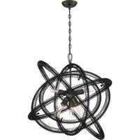 EuroFase 31388-016 Orbita 6 Light 30 inch Vintage Bronze Chandelier Ceiling Light