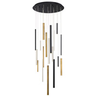 Santana LED 24 inch Black and Satin Nickel Chandelier Ceiling Light