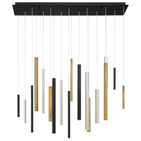 Santana LED 1 inch Black and Satin Nickel Chandelier Ceiling Light