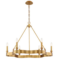 EuroFase 33709-024 Leyton 6 Light 34 inch Antique Brass Chandelier Ceiling Light