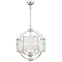EuroFase 33849-010 Manilow 6 Light 19 inch Nickel Chandelier Ceiling Light
