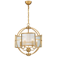 EuroFase 33849-027 Manilow 6 Light 19 inch Brass Chandelier Ceiling Light