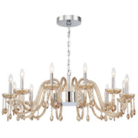 EuroFase 34080-030 Ferrero 16 Light 42 inch Chrome Chandelier Ceiling Light in Cognac