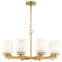 EuroFase 34094-013 Manchester 8 Light 30 inch Brass Chandelier Ceiling Light