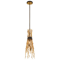 EuroFase 35640-011 Kindling 3 Light 8 inch Gold Leaf Chandelier Ceiling Light