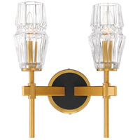 EuroFase 35937-012 Gladstone 2 Light 12 inch Antique Brass/Black Wall Sconce Wall Light