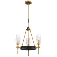 EuroFase 35938-019 Gladstone 3 Light 20 inch Antique Brass and Black Chandelier Ceiling Light