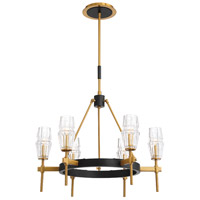 EuroFase 35939-016 Gladstone 6 Light 28 inch Antique Brass/Black Chandelier Ceiling Light