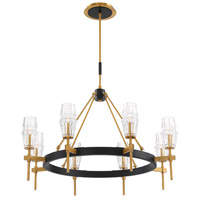 EuroFase 35940-012 Gladstone 8 Light 36 inch Antique Brass/Black Chandelier Ceiling Light