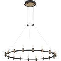 EuroFase 37044-015 Albany LED 45 inch Deep Black/Brass Chandelier Ceiling Light