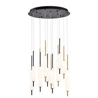 EuroFase 37235-031 Cumberland LED 22 inch Antique Brass/Black/Satin Nickel Chandelier Ceiling Light