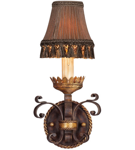Antiqued Gold Leaf Iron Wall Sconces