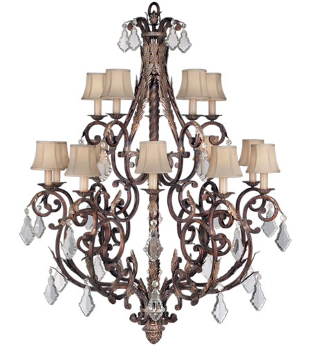 Fine Art Lamps 226540ST Stile Bellagio 15 Light 45 inch Tortoise Leather Crackle Chandelier Ceiling Light photo
