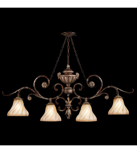 Fine Art Lamps Stile Bellagio 4 Light Island Fixture in Tortoise Leather Crackle 302240ST photo