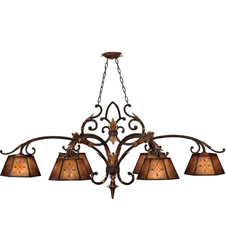 Fine Art Lamps 302540ST Villa 1919 6 Light 60 inch Rich Umber w/ Guilded Accents Island Fixture Ceiling Light photo