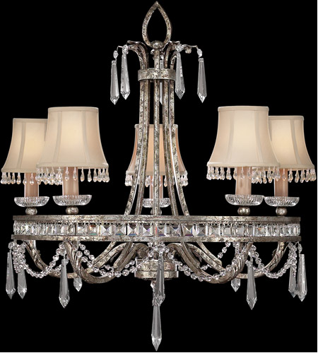 Fine Art Lamps 323740ST Winter Palace 5 Light 29 inch Warm Antiqued Silver Chandelier Ceiling Light photo